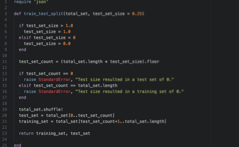 Splitting data to training and test sets in Ruby